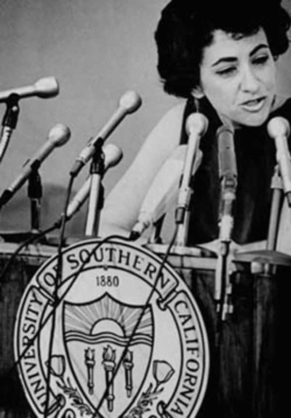 Barbara Myerhoff at Conference on Youth, Press Conference, 1969