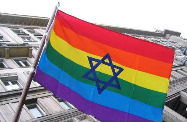 Jewish GLBT flag, displaying from a Warsaw building