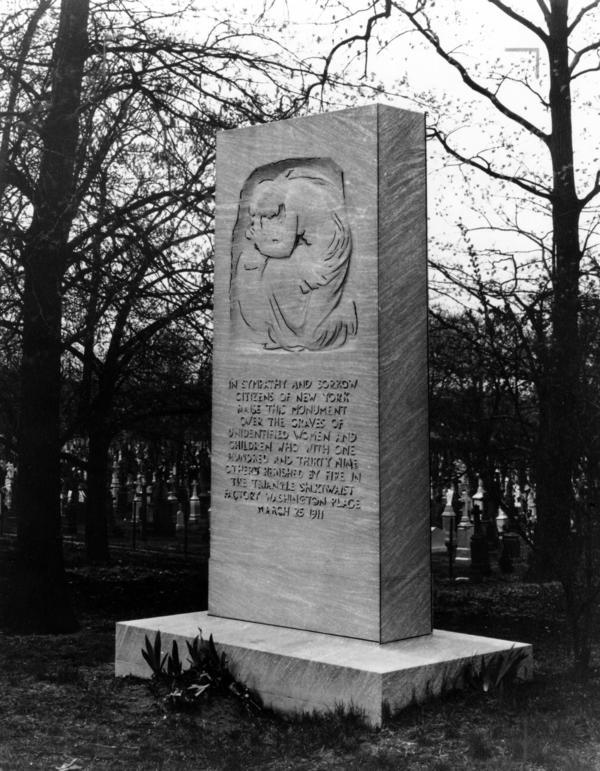 """Triangle Fire Memorial to the Unknowns"" in Evergreens Cemetery, Brooklyn"