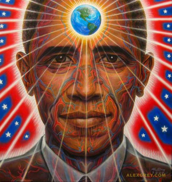 Obama with world third eye photo