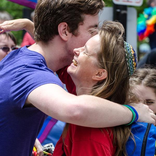 People Embracing at the Boston Pride Parade, 2013