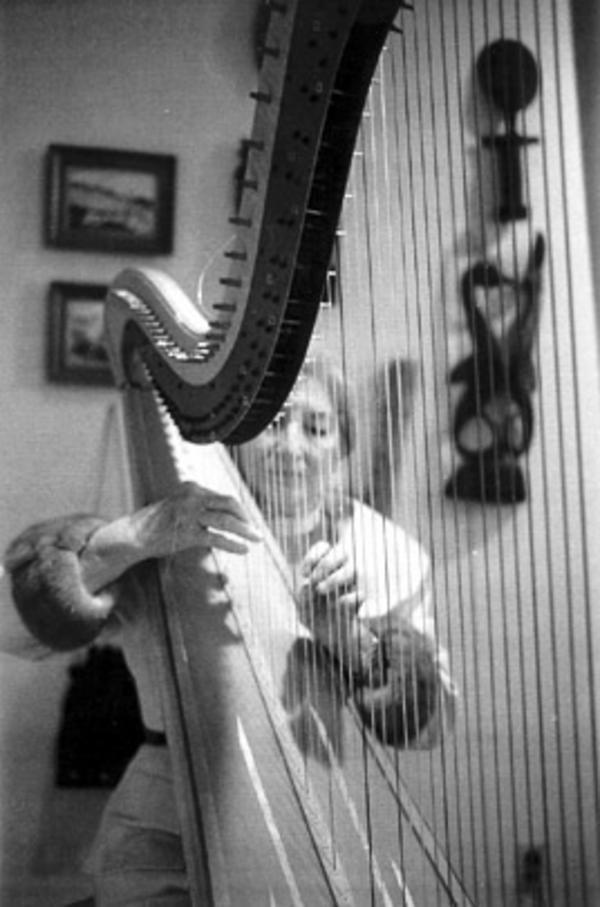 Bernice Mossafer Rind with her Harp