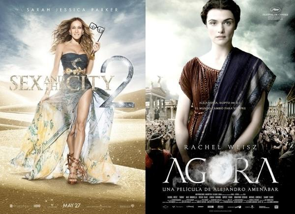 """Sex and the City 2"" and ""Agora"" movie posters"