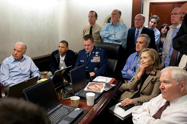 Hillary Clinton, President Obama, and Security Team in the Situation Room, 2011