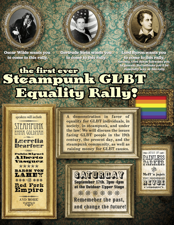 Steampunk LGBT equality rally flyer