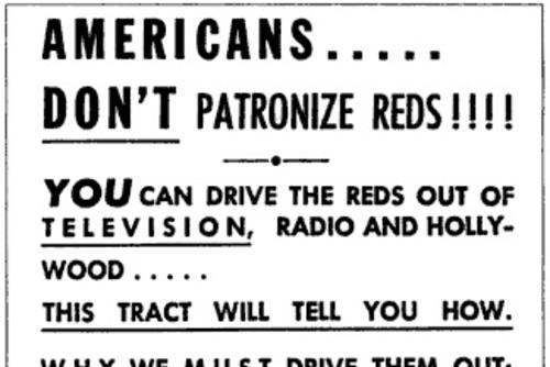 """Don't Patronize Reds!"" Advertisement by Anonymous"